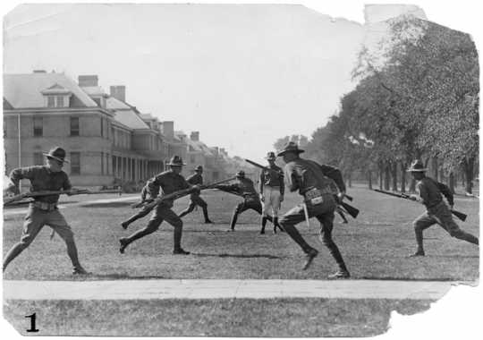 Black and white photograph of bayonet training at the Officers' Training Camp, Fort Snelling, 1917.
