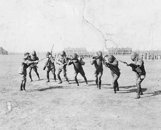 Black and white photograph of bayonet drill at the Officers' Training Camp, Fort Snelling, 1917.