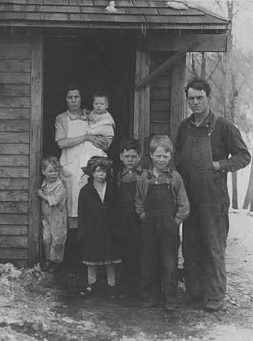 Black and white photograph of a starving farm family who appealed for aid, Hollandale, Freeborn County, 1929.