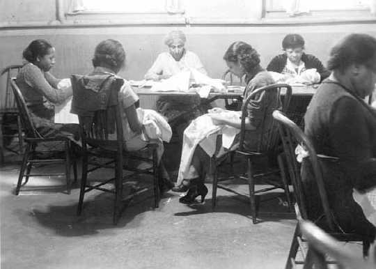 Women sewing at Phyllis Wheatly House. ca. 1936. WPA Negative Collection.