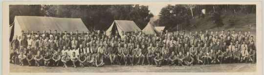 Black and white photograph of a Civilian Conservation Corps, Company 1753, Elba, 1933. Photographed by George O. Mehl.
