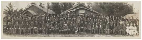 Panorama image of the Civilian Conservation Corps headquarters, Company 712, Gunflint Camp F-5, in Grand Marais, Minnesota. Photograph by George O. Mehl, April 15, 1934.