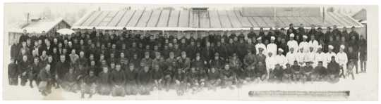 Black and white photograph of African American CCC Company 1728, Camp Temperance F-19, Tofte, 1934.