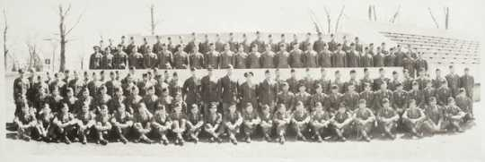 Black and white photograph of soldiers and officers of the Language School, Camp Savage, c.1943.