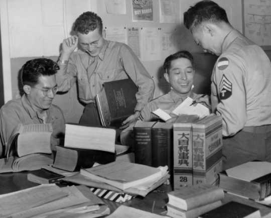 Black and white photograph of translators at the Military Intelligence Service Language School at Fort Snelling, 1945.