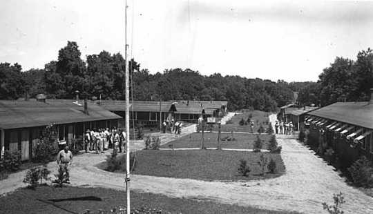 Black and white photograph of a Civilian Conservation Corps camp, Sibley State Park, ca. 1930s.