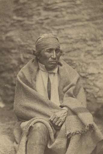"Black and white photograph of Dakota leader Sakpedan (Little Six, ""Shakopee III"") at Fort Snelling, 1864."