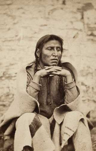 Black and white photograph of Dakota Leader Wakanozhanzhan (Medicine Bottle) at Fort Snelling, 1864.