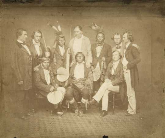 Black and white photograph of Treaty Delegation, 1858.