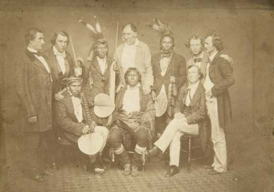 Black and white photograph of a Dakota treaty delegation in Washington, 1858.