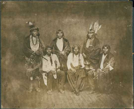 Black and white photo print of Dakota Indian Treaty Delegation, c.1858.
