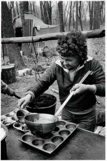 Maddy Moose making maple sugar at the Heart of the Earth Survival School