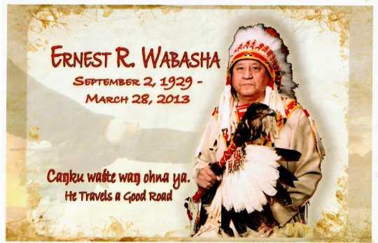Ernest Wabasha's memorial card