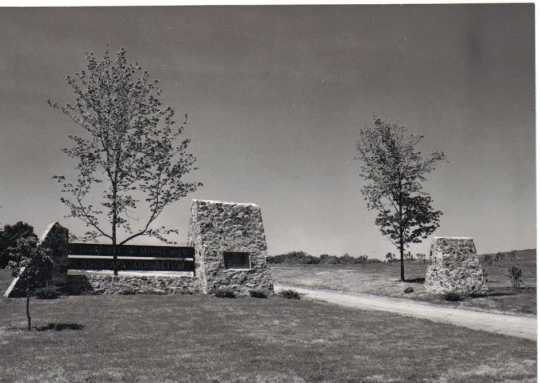 black and white photograph of an early sign for the Landscape Arboretum