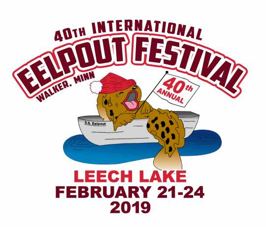 Official logo for the 40th International Eelpout Festival in Walker, Minnesota, held February 21–24, 2019. Holding location: International Eelpout Festival, used with permission.