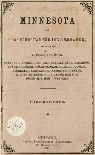 Immigration pamphlet written by Hans Mattson