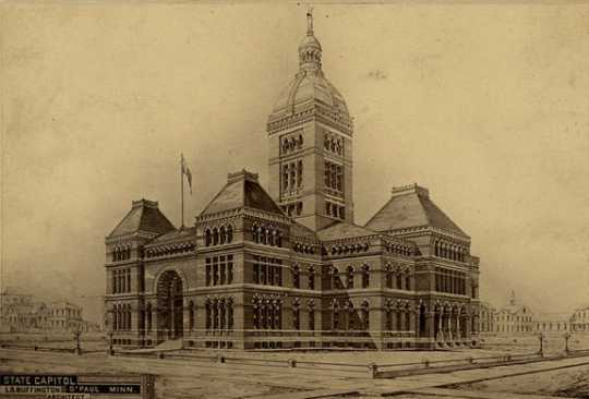 Drawing by Leroy S. Buffington, Architect, for the state capitol building, St. Paul, ca. 1881. Photographed by Farr.