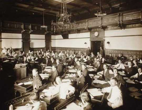 Black and white photograph of the senate Chamber, second state capitol, St. Paul, ca. 1900. Photographed by Charles P. Gibson.