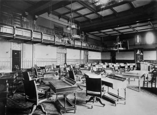 Black and white photograph of the house chamber, second state capitol, ca. 1885.