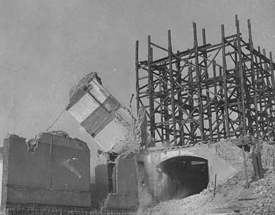 Black and white photograph of the wrecking of the old State Capitol, St. Paul, 1938. Photographed by the St. Paul Dispatch.