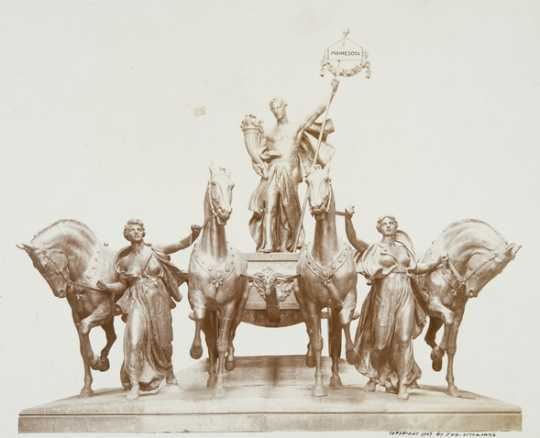 Black and white photograph of the Quadriga, Daniel C. French and Edward C. Potter, sculptors, c.1907.