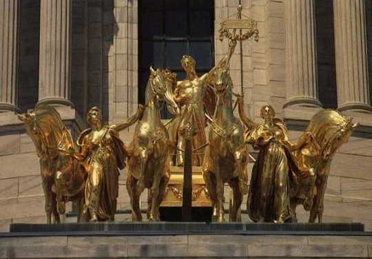 Color image of the Quadriga, c.1986. Photographed by Bob Firth.