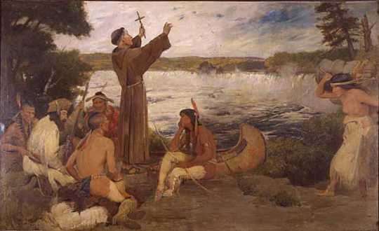 Painting of Father Hennepin at the Falls of St. Anthony by Douglas Volk, c. 1905.
