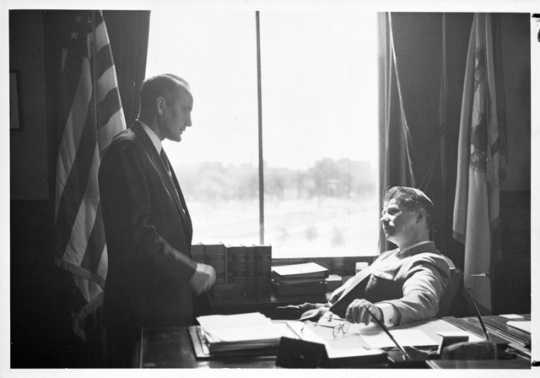 : Attorney General Miles Lord (left) and Minnesota Governor Orville Freeman (right), 1958.