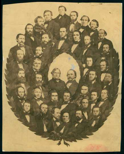 Collage in shape of wreath showing Minnesota's Senate and Governors Alexander Ramsey and Henry H. Sibley