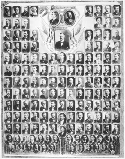 Black and white composite of the House of Representatives, Governor and Lieutenant Governor, 1899.