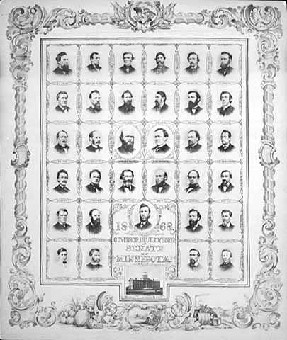 Black and white photo print on paper of Governor William Marshall and the Minnesota State Senate, 1868.