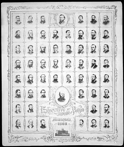 Black and white photo print of Governor William Marshall and the House of Representatives, 1868,
