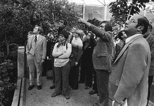 Black and white photograph of legislators (including Allan Spear, far right) tour the Minnesota Zoological Garden, 1980.
