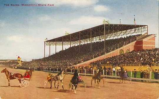 Colored postcard depicting harness-racing at the Minnesota State Fair Grandstand, c. 1910.