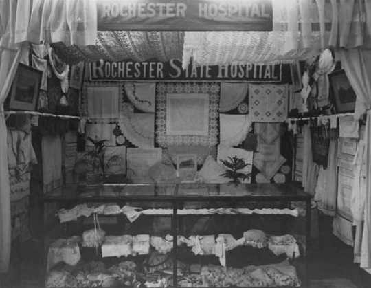 Black and white photograph of a Rochester State Hospital exhibit at the State Fair, c.1915.