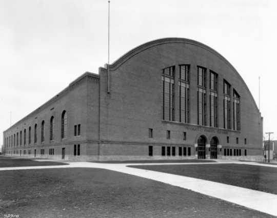 Black and white photograph of Williams Arena c.1929, soon after completion.