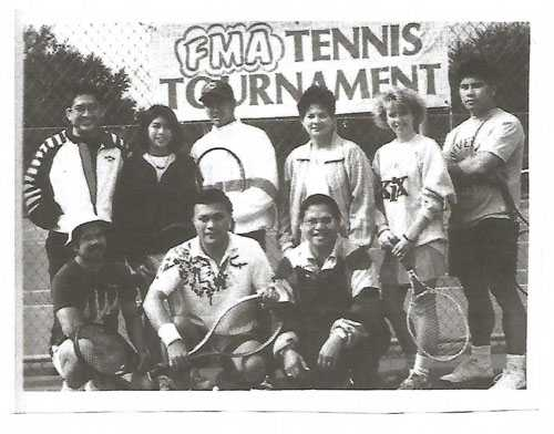 Organizers of an FMA tennis tournament at 3M Tartan Park (Lake Elmo), 1993. Photograph by Tito Sumangil. Used with the permission of Tito Sumangli.
