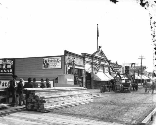 Photograph of A. J. Rustad's saloon, ca. 1890s.