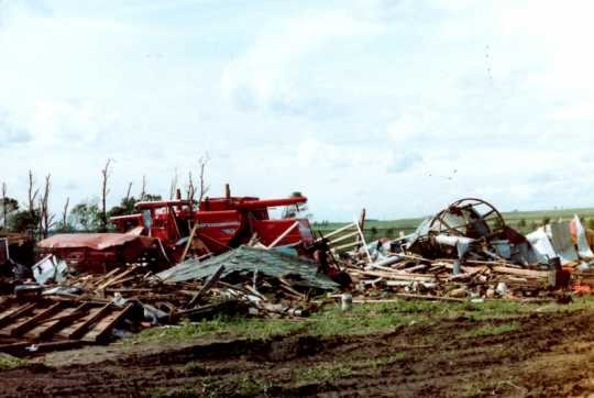 A farm as it appeared in the aftermath of the Chandler–Lake Wilson Tornado, June 1992.
