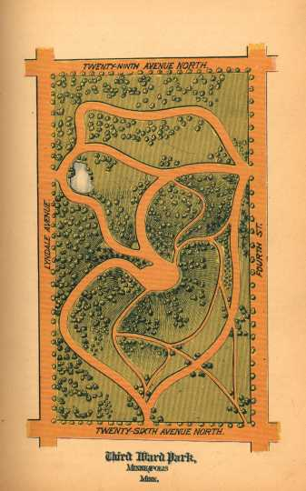 Color plan for Third Ward (now Farview) Park, Horace W. S. Cleveland, 1883 Annual Report, Minneapolis Board of Park Commissioners, 1883.