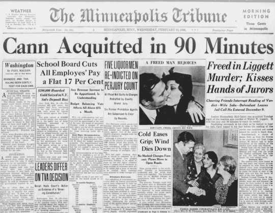 Newspaper article and headline published after Kid Cann's 1936 acquittal