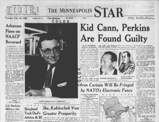 Newspaper headline and article announcing Kid Cann's 1960 conviction