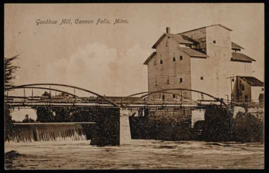 Black and white photograph of Goodhue Mill, Cannon Falls, 1909.