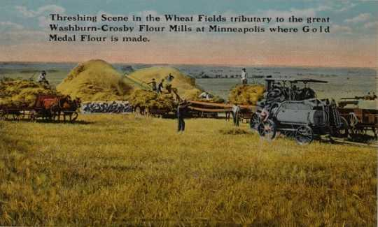 Colorized Washburn-Crosby Flour Mills advertisement for Gold Medal Flour, Threshing Scene, unknown location.