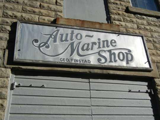 Finstad's Auto-Marine Shop sign