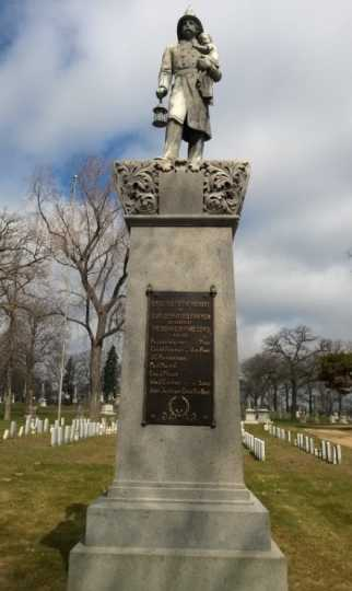 Color image of Firefighter monument, 2014.