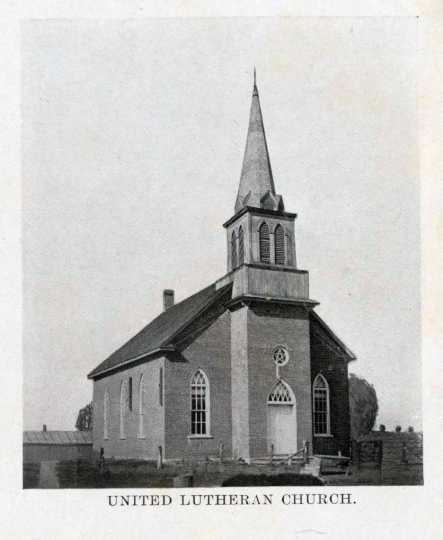 Photograph of Greenfield Lutheran Church, ca. 1874.