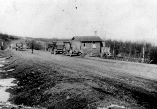 Black and white photograph of the first Stickney Store, facing east, ca. 1922.
