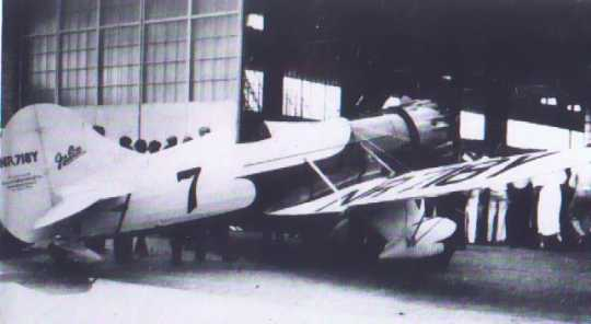 Black and white photograph of Florence Klingensmith's Bee Gee airplane, 1933.