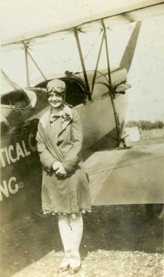 Black and white photograph of Klingensmith before her first flight, 1928.